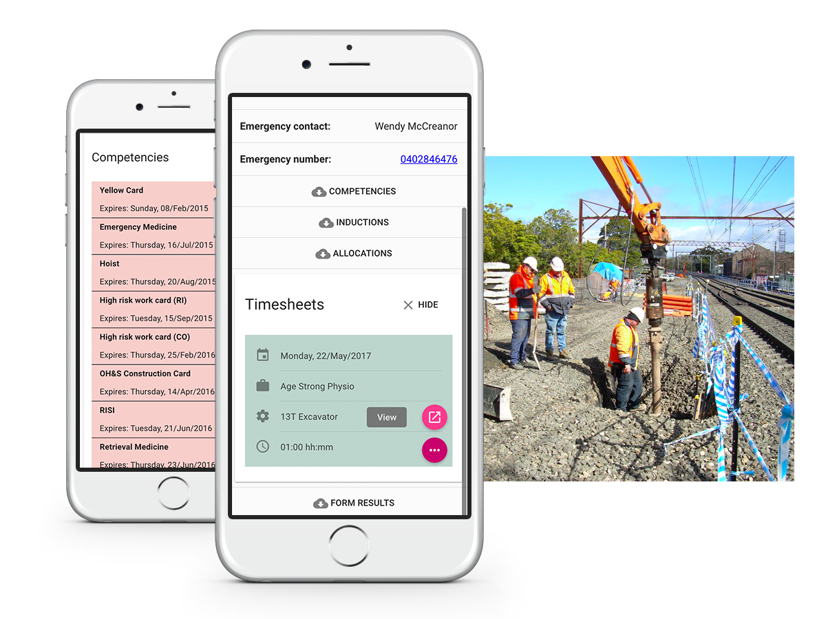 The Fieldworker app for Android and iOS devices allow construction staff to submit timesheets, record safety inspections and remain in contact from the project site