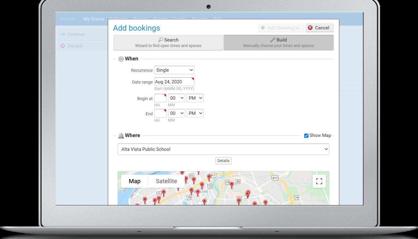 eBASE Software - Facility Rentals Booking Screen