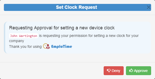 Users can control device authorization to manage where employees can clock in and out from