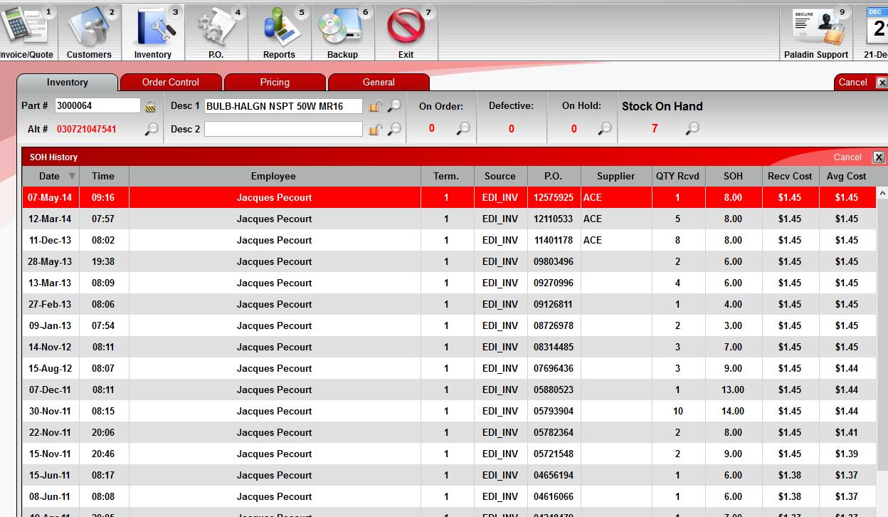 Paladin POS Software - Stock-order history %>