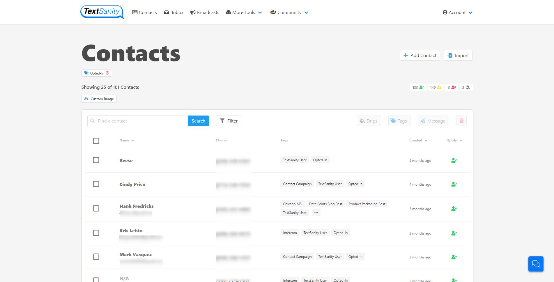 TextSanity contacts screenshot