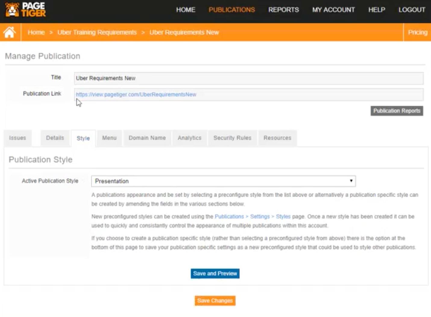 PageTiger manage publication