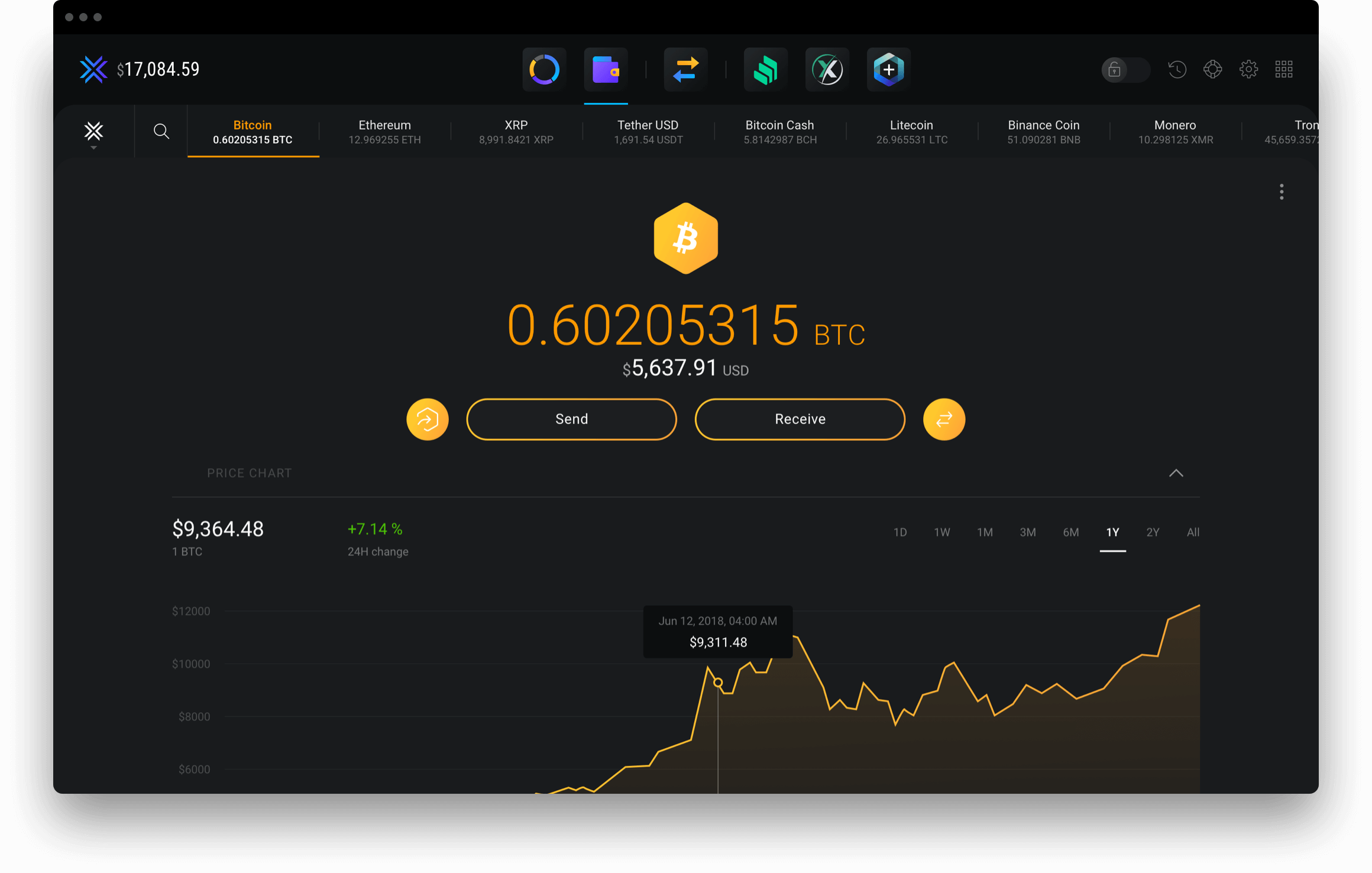 Exodus send or receive cryptocurrency