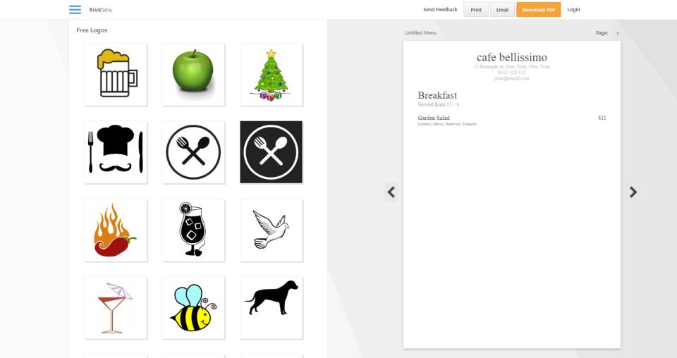 Brisk Table Menu Generator menu customization