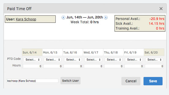 Track employee hours and managing employee PTO conveniently online