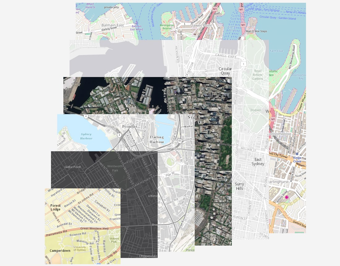"A suite of geographically accurate ""basemaps"" in vector format can be used as ready-made data canvas' and showing satellite pictures, streets, land and oceans etc"