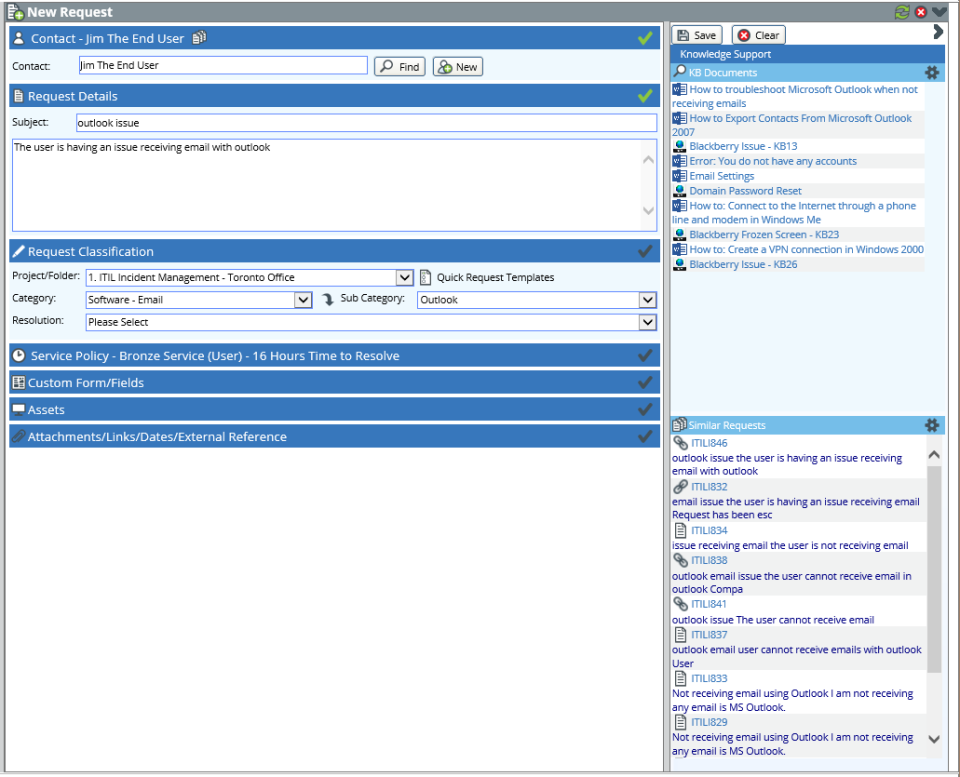 New request classification and contact lookup tools