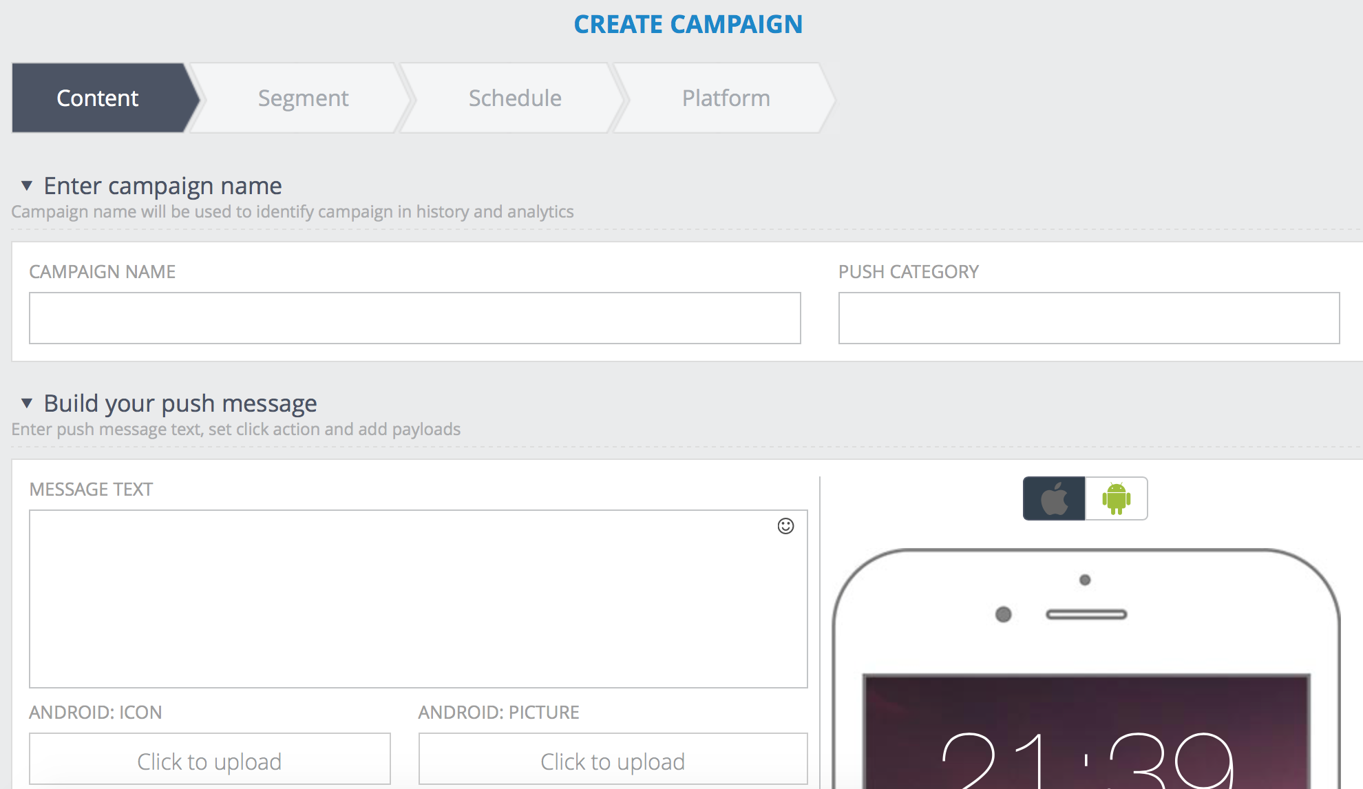 Xtremepush Software - Create campaigns