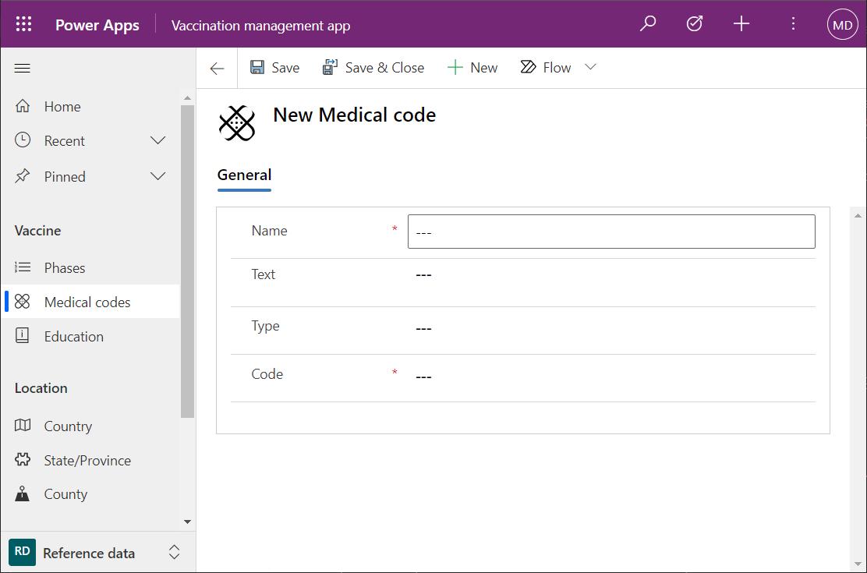 Microsoft Vaccination Management medical codes