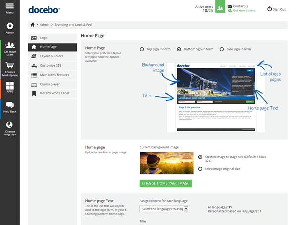 Docebo navigation panel
