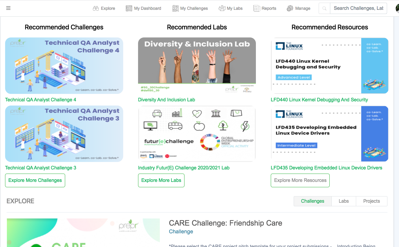Recommendations based on users interest and engagement with Labs, Challenges and Resources within your private network.