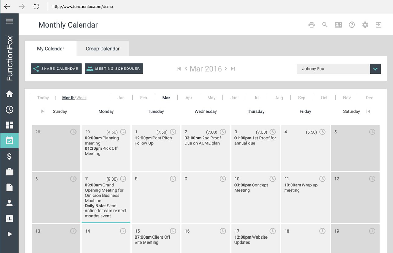FunctionFox calendar