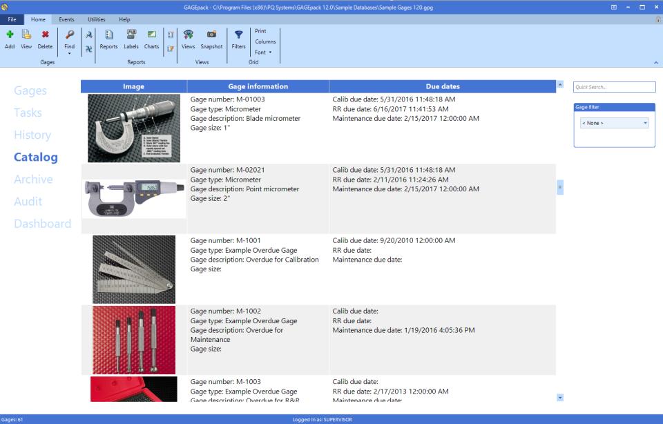 GAGEpack Catalog