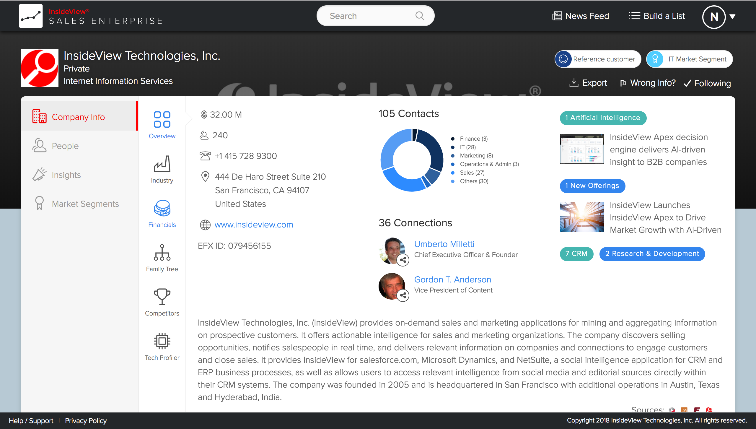 InsideView screenshot: InsideView Company and People Insights