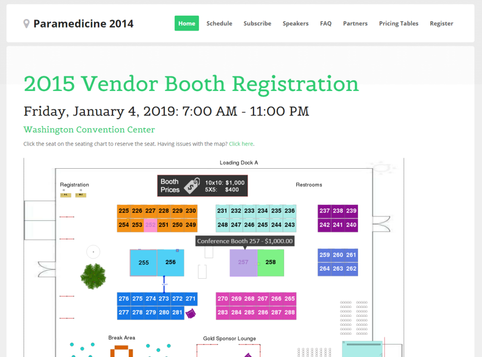 Vendors for trade shows and conferences can be managed