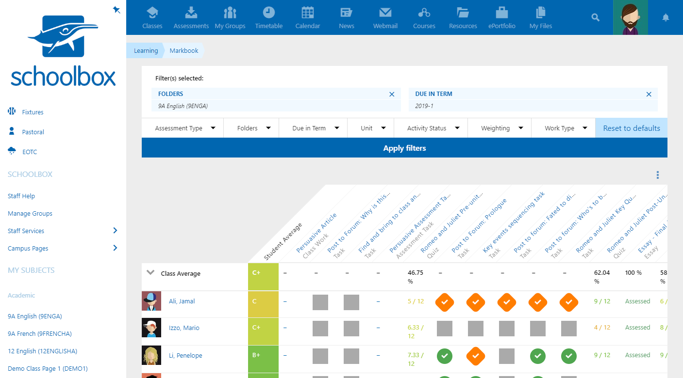 Assess, record, and report on student learning. Automated analytics feed improvement. The data helps individualise learning, which saves teachers time.