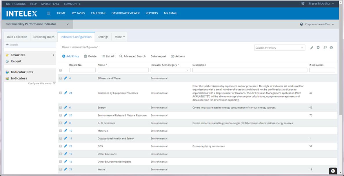 Environmental Management Software indicator configuration