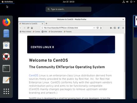 CentOS Linux user interface