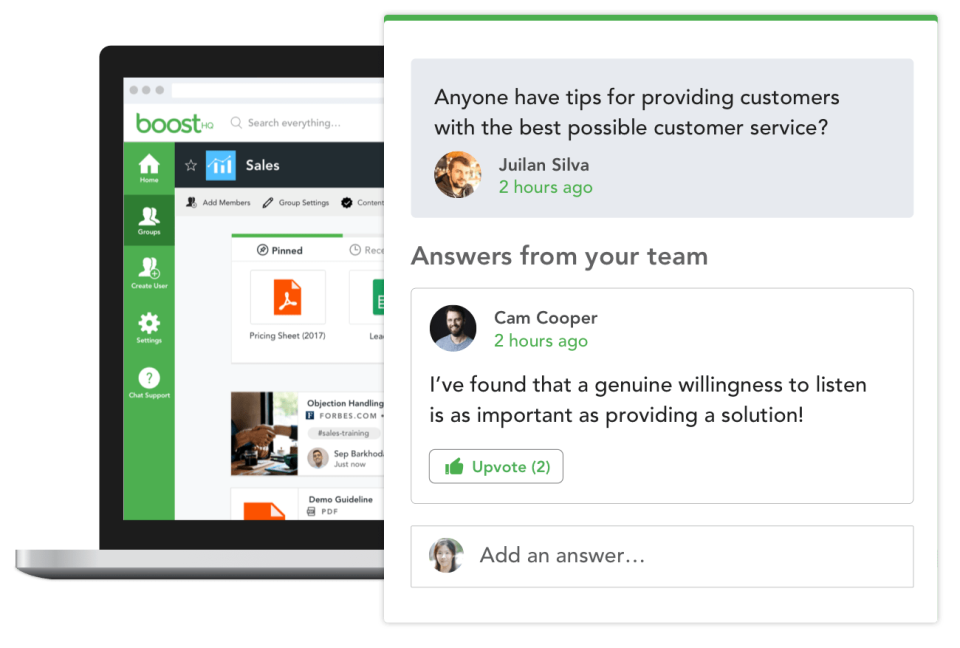 The BoostHQ Q&A feature allows employees to initiate discussions in different groups