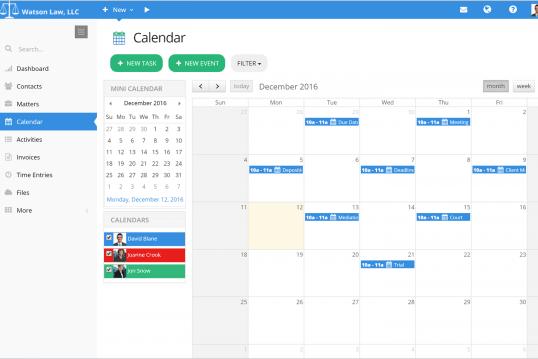PracticePanther calendar
