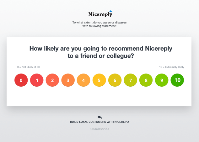 Net Promoter Score Survey in your email