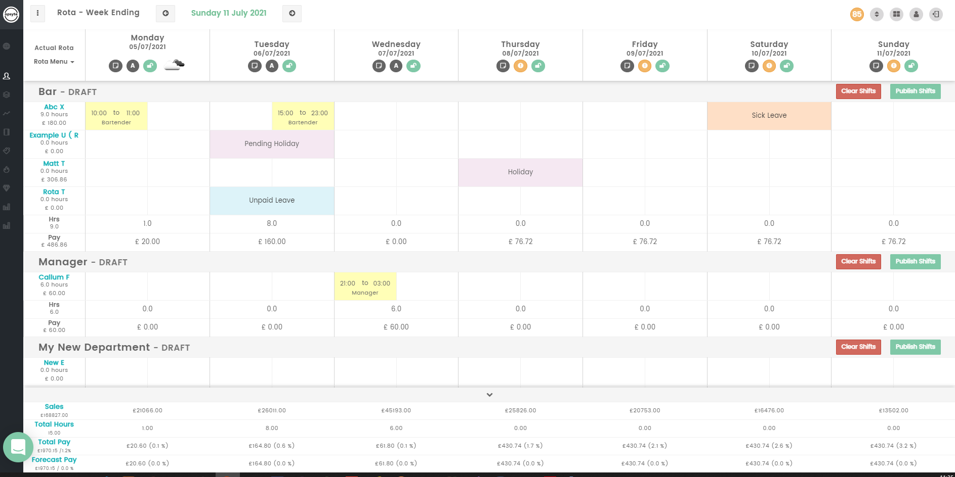 Scheduling and holiday tracking