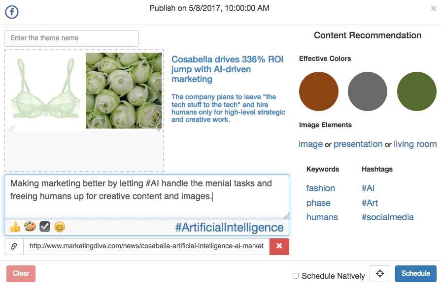 The Cortex foresight feature tells users what images, colors, keywords, and hashtags inspire audiences, and schedule posts at the right time to reach them