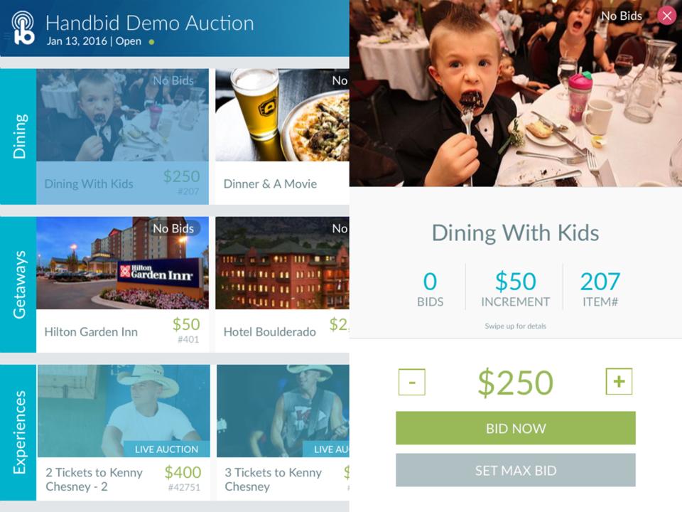 Handbid screenshot: Multiple bidding options are available in Handbid, including maximum bid setting and 'Buy Now'