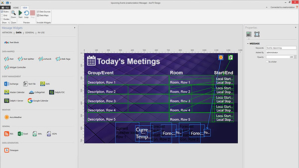 Handy data widgets let you select, place and format dynamic data from calendars, weather, RSS, Excel, XML, JSON and more. See data paths for reference and preview playback on your desktop before publishing out to displays.