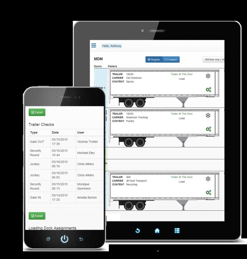 Track trailer checks via smartphone or tablet device