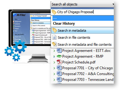 Users can search all file contents and metadata in M-Files