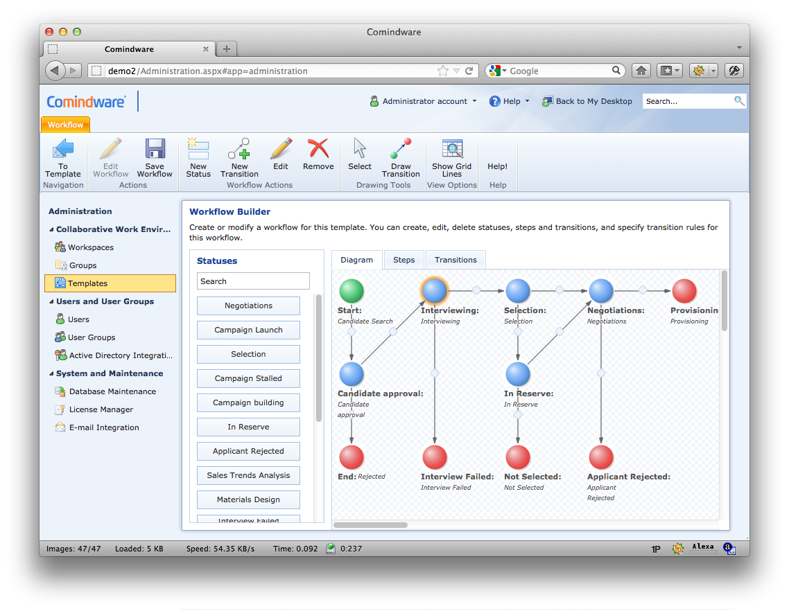 Comindware Process screenshot: Visual workflow builder
