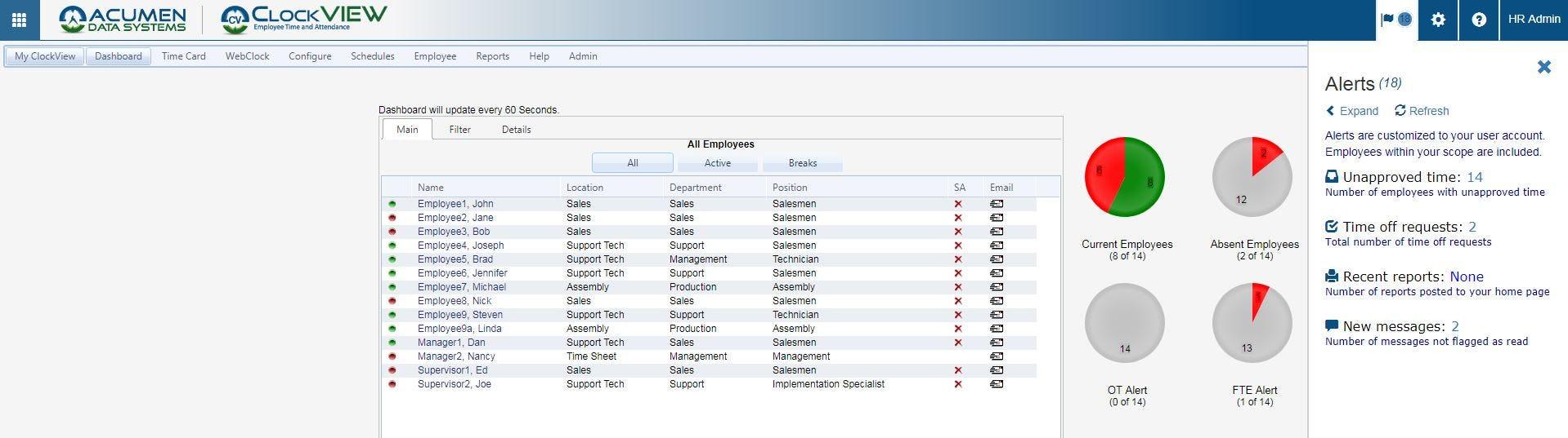 ClockVIEW Software - ClockVIEW dashboard