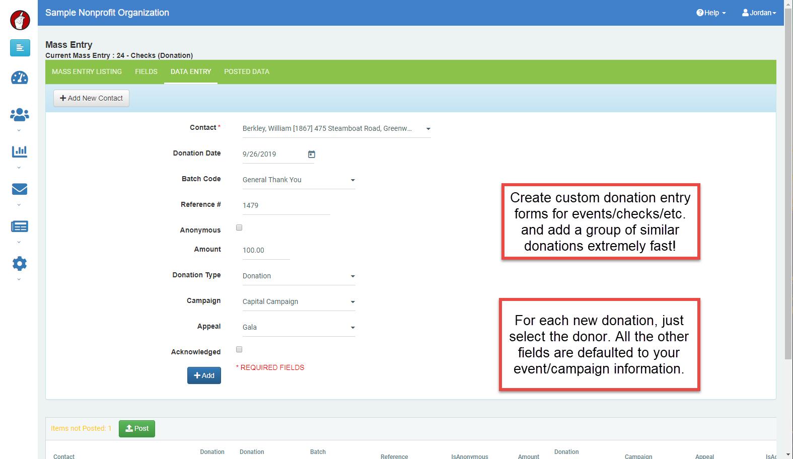 DonorSnap mass entry screenshot
