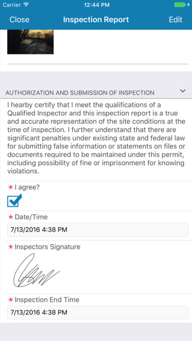 Inspection reports can be viewed from within the mobile app, detailing authorization, agreement, date/time, inspector signature and inspection end time