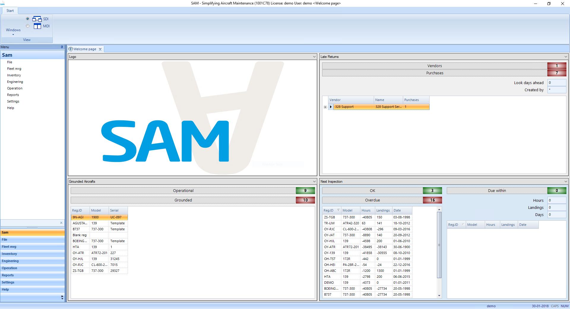 SAM Aviation Maintenance Software welcome page screenshot