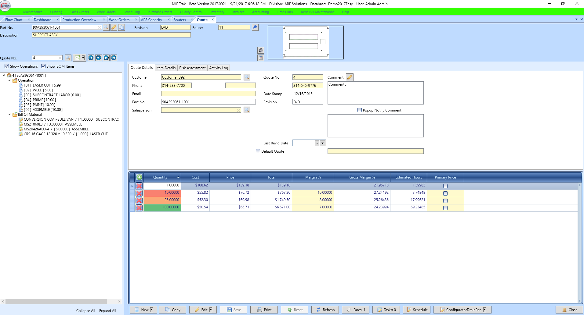 MIE Trak Pro Software - Quote screen