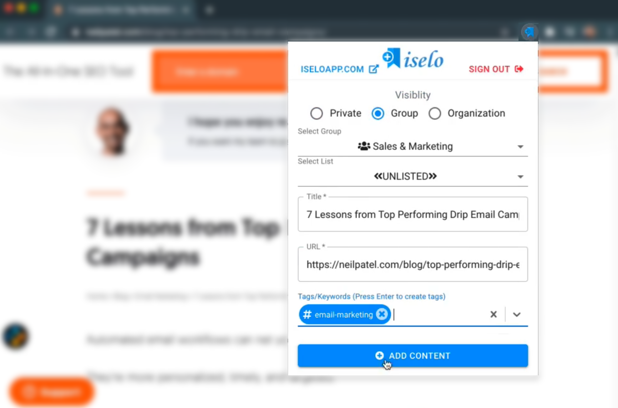 Browser Extension to Save Content to ISELO directly from the browsers without opening ISELO Webapp. Available for Chrome, Firefox and Microsoft Edge