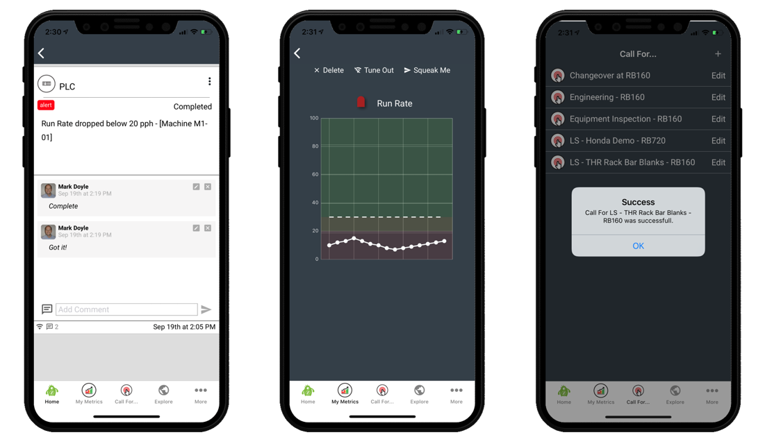 SQUEAKS iOS and Android mobile apps: receive push notifications, view and send messages, view Metrics, Dashboards, Visual Management Boards and more.