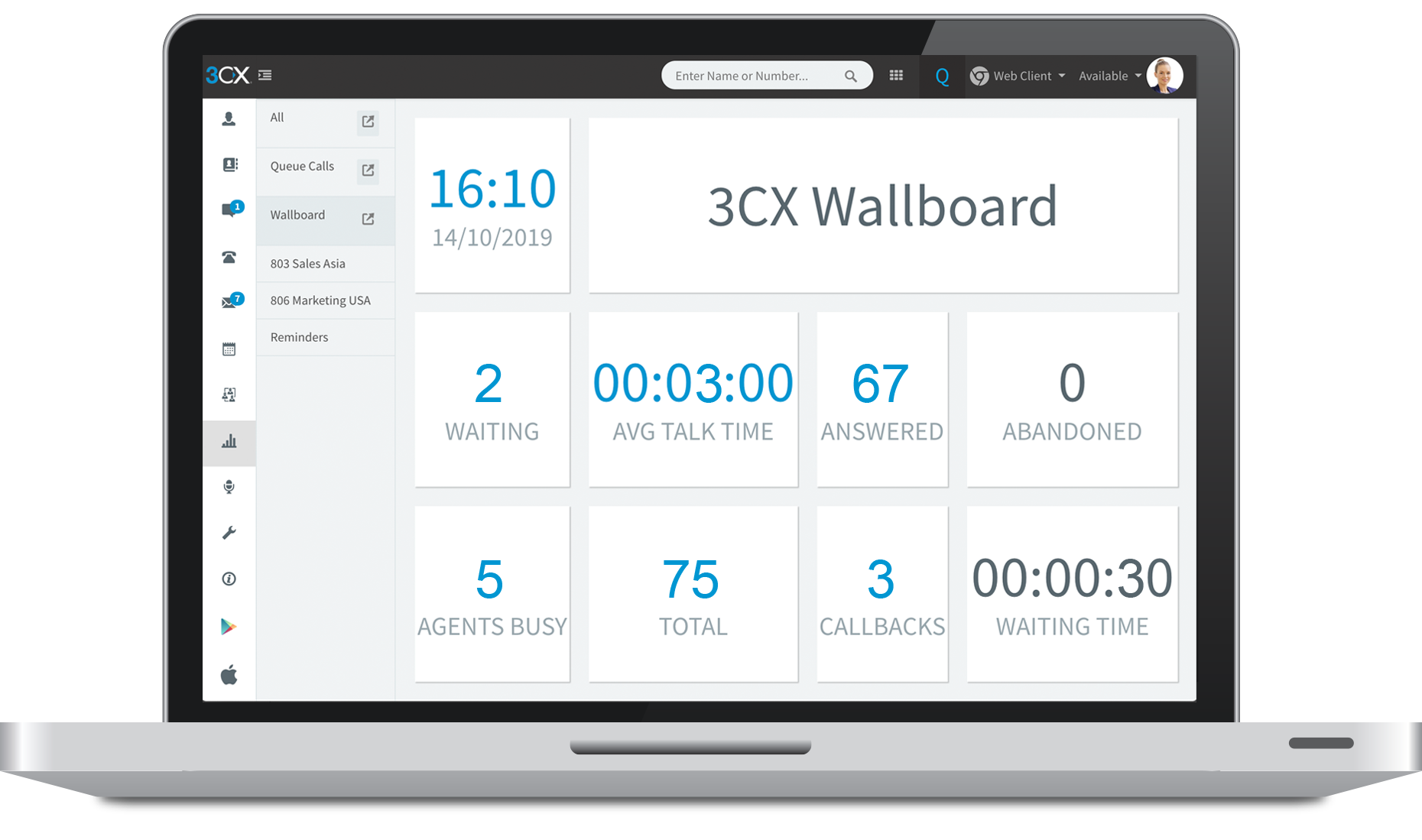3CX PRO offers a simple, intuitive call center management offers the information required to monitor call queues in real-time, ensuring that not a single inbound call is lost.