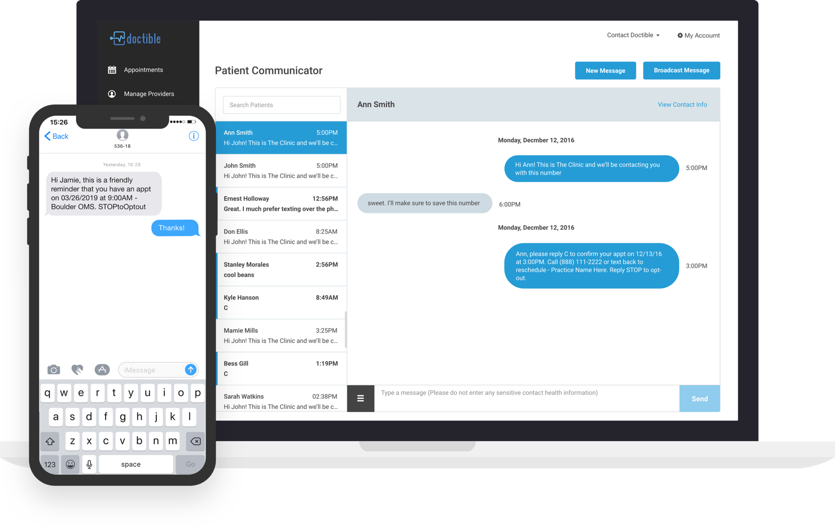 Doctible unified communication inbox