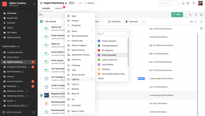 Zoho WorkDrive Software - 3