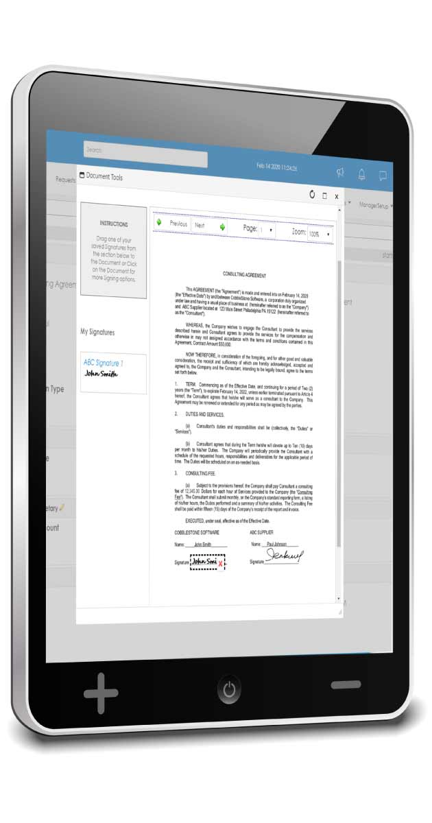 Mobile-friendly contract management software by CobbleStone.