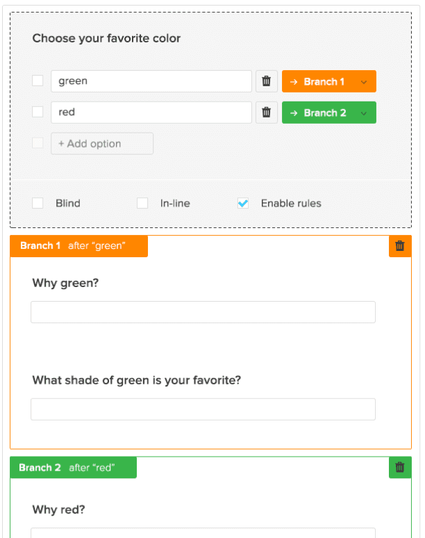 Create forms with branching and form logic