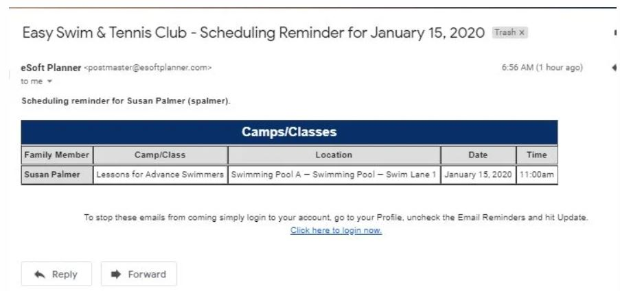 eSoft Planner email reminders