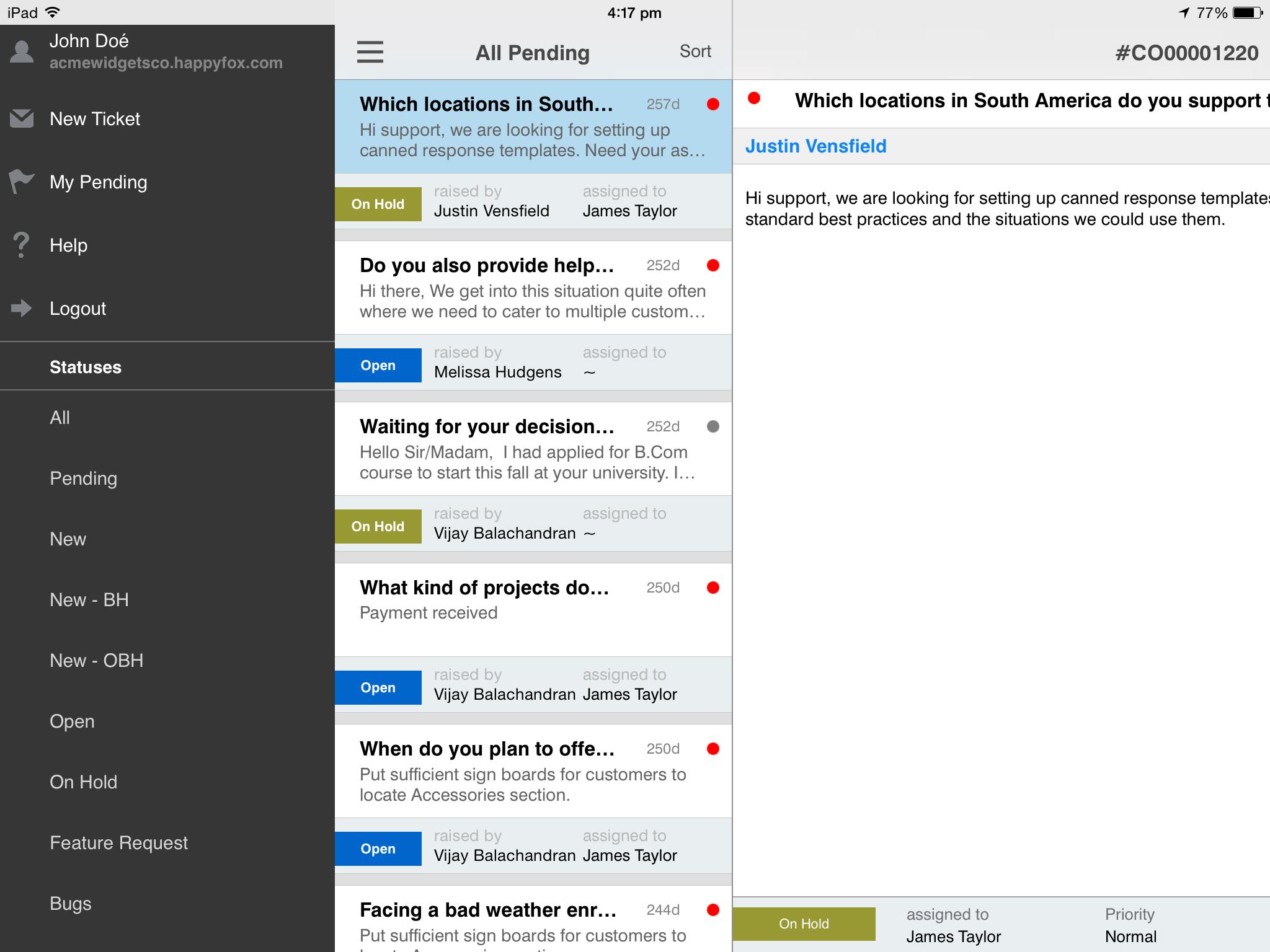 HappyFox Help Desk Software - iPad Ticket Menu