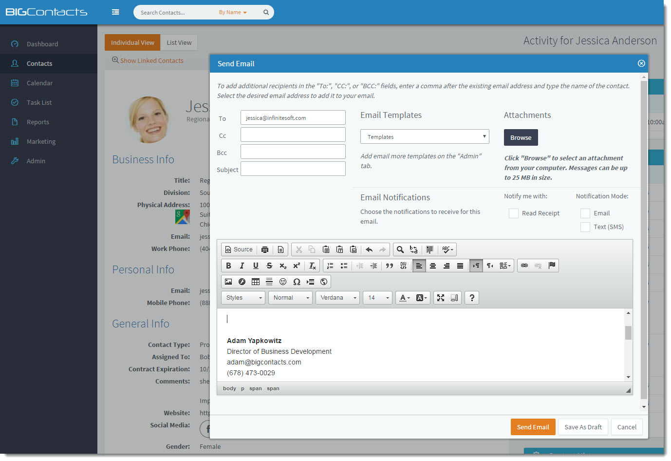 BigContacts Software - Seamlessly send & receive emails right from the Contact record