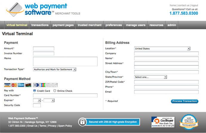 Web Payment Software virtual terminal view