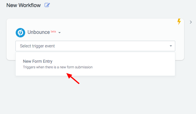 Users choose which application they wish to trigger the workflow, then select the trigger event from an app-specific drop-down list