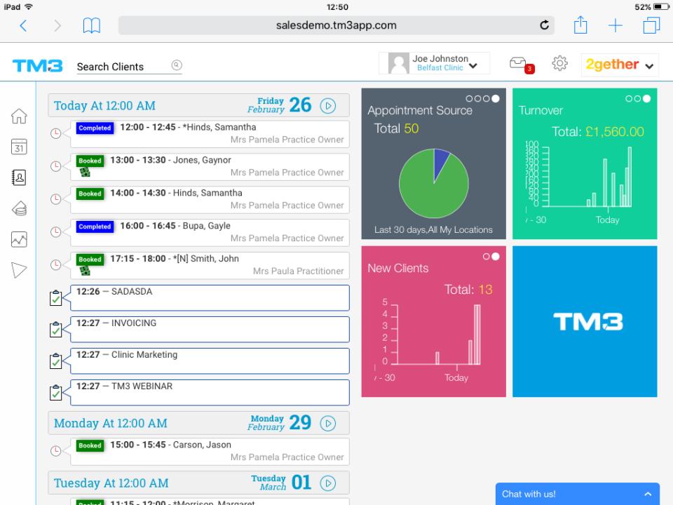 TM3 clinic dashboard